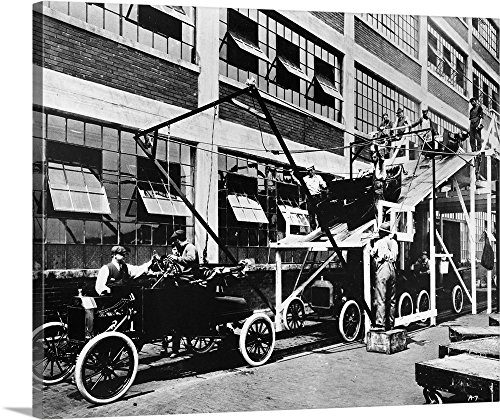 Canvas on Demand Premium Thick-Wrap Canvas Wall Art Print entitled Model T assembly line at the Ford automobile plant in Highland Park, Michigan, 1913 (Carousel Wall Art)