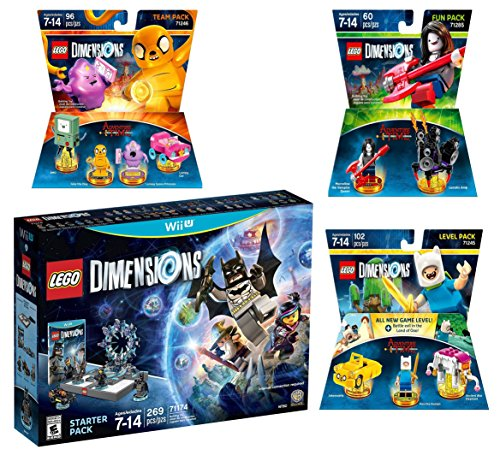Lego Dimensions Starter Pack + Adventure Time Finn The Human Level Pack + Jake The Dog Team Pack + Marceline The Vampire Queen Fun Pack for Nintendo Wii U Console by WB Lego