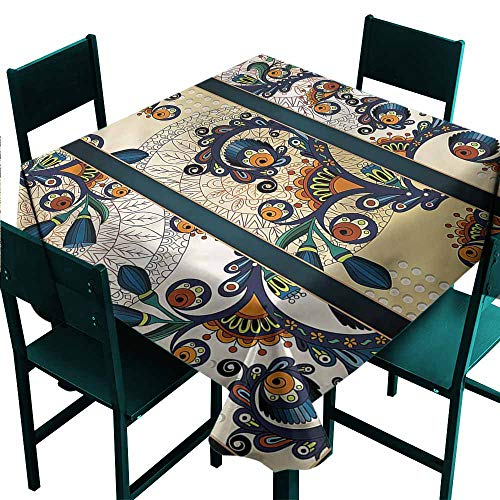 (DONEECKL Wrinkle Resistant Tablecloth Abstract Batik Style Flower Design Indoor Outdoor Camping Picnic W63 xL63)