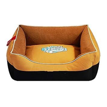 Mzdpp Lona De Lujo Cuadrado para Mascotas Cama De Perro Alfombra para Gatos Arena Suave Almohada Costuras Amarillas 58X74 Cm: Amazon.es: Productos para ...