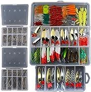 Smartonly1 Set 226Pcs Fishing Lure Tackle Kit Bionic Bass Trout Salmon Pike Fishing Lure Frog Minnow Popper Pe
