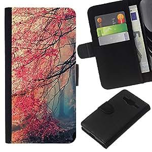 YiPhone /// Tirón de la caja Cartera de cuero con ranuras para tarjetas - Feuille - Samsung Galaxy Core Prime