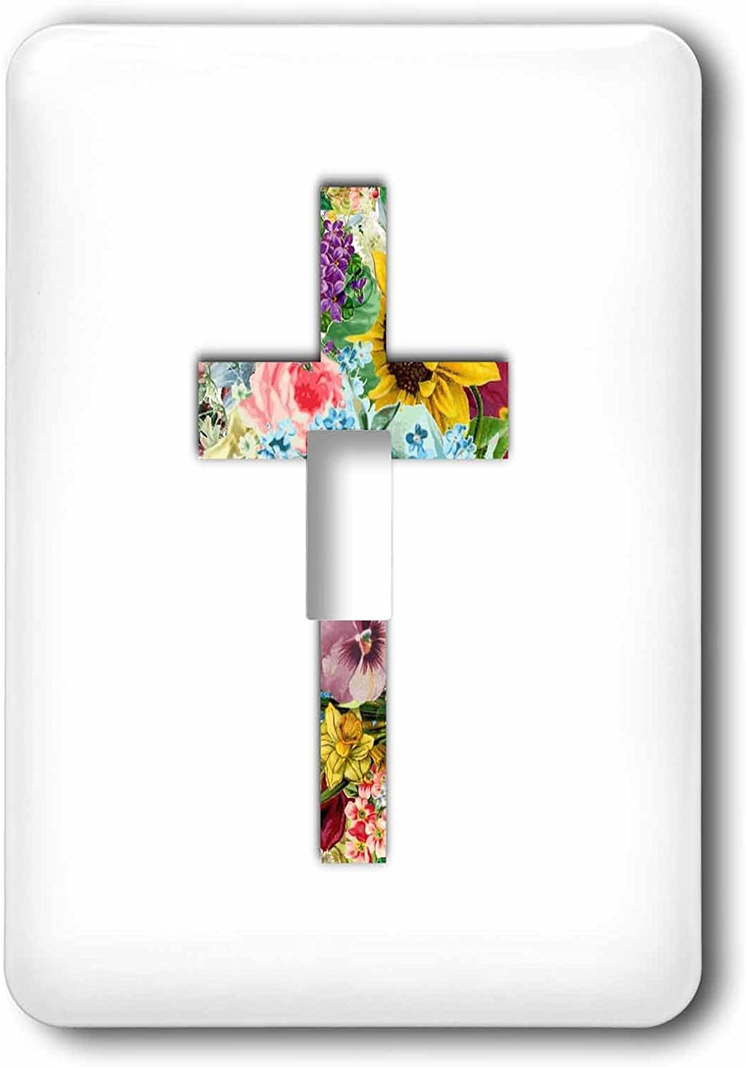 3drose Lsp 185474 1 Floral Christian Cross Colorful Girly Flower Pattern Religious Symbol Light Switch Cover Amazon Com