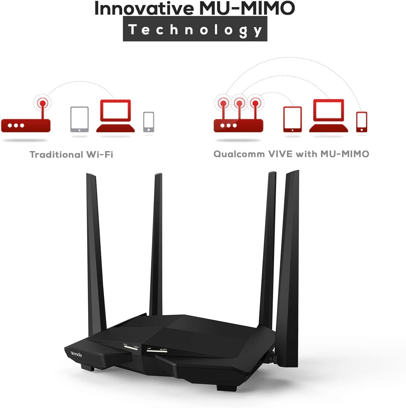 Tenda AC10 Router WiFi Inalámbrico Gigabit AC1200 (Doble Banda 5GHz 867 Mbps 2,4 GHz 300 Mbps, 4 Antenas 5 dbi, Chip Broadcom 1GHz, Memoria ddr3, ...
