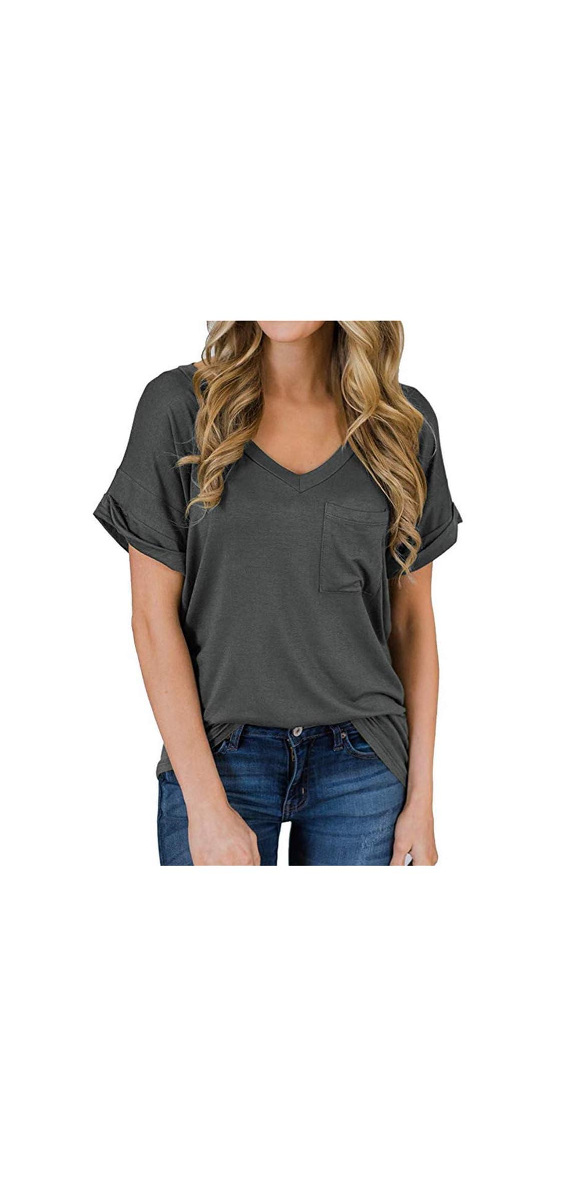 Women's Short Sleeve V-neck Shirts Loose Casual Tee