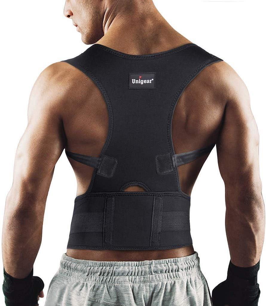 Unigear Corrector de Postura para Espalda Hombro Aliviar Dolor de Columna Cinta Ajustable y Cómoda Sujetador Cinturón Corrección de Postura Respirable para Mujeres y Hombres