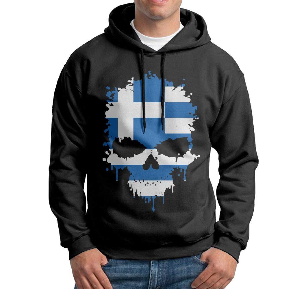 Warm Greece Skull Cotton Blouse Tops for Mens Vtw24i-5 Mens Hooded Sweatshirt
