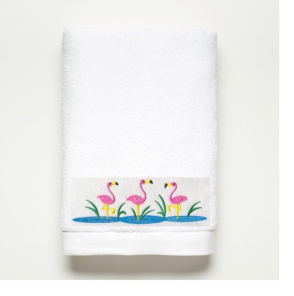 Rosa bordado de flamenco toalla de baño - 100% de algodón: Amazon.es: Hogar