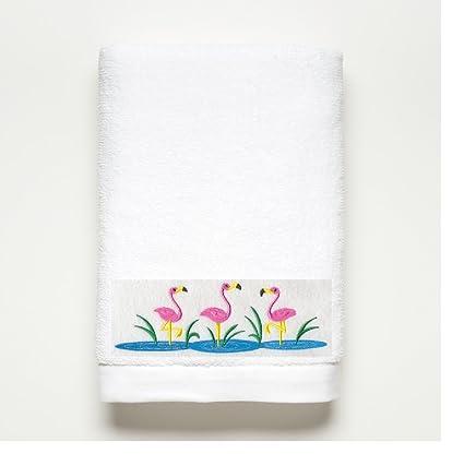 Rosa bordado de flamenco toalla de baño – 100% de algodón