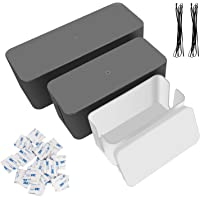LANIAKEA Cable Management Box Cord Organizer, 3 Different Sizes Cable Box Plastic Wire Organiser Cable for Computer, USB Hub, System to Cover for and Hide Power Strips Cords (White and Black)