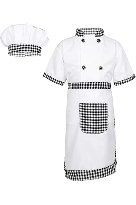 easyforever Unisex Kids Boys Girls 3PCS Chef Baker Clothes Halloween Cosplay Outfit Shirt Sleeve Top with Apron Cap Set