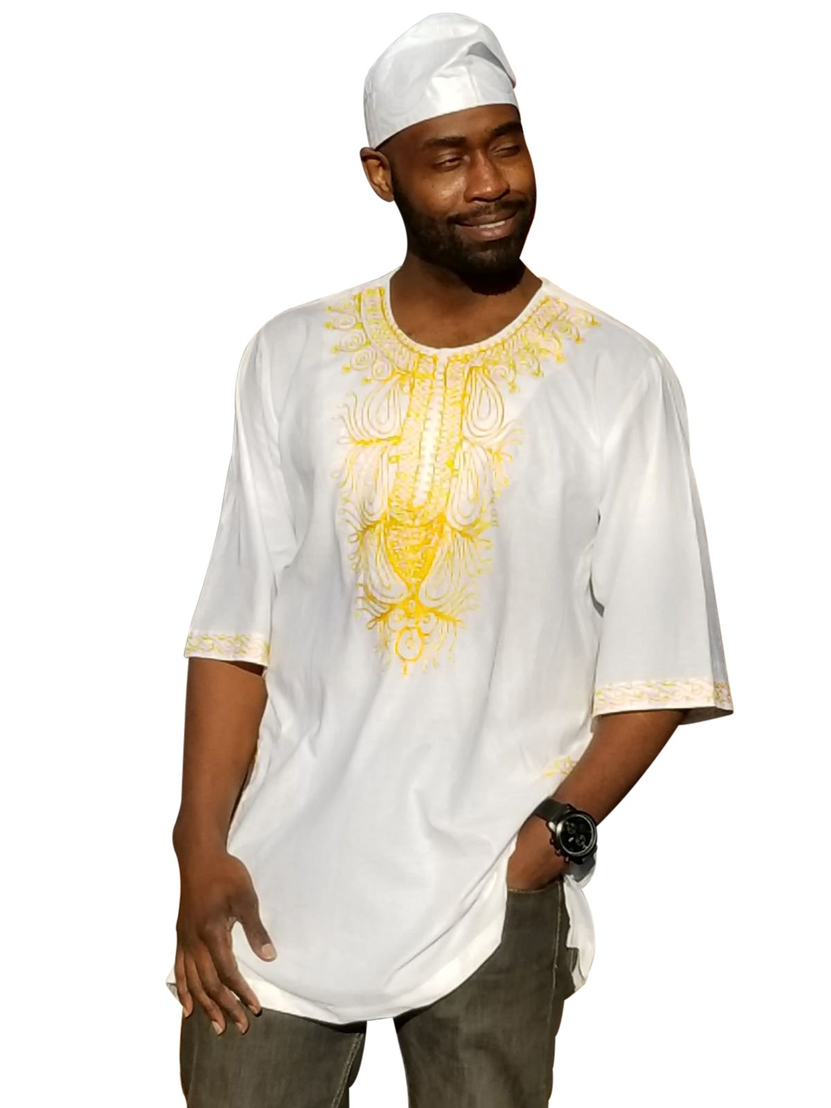 Off-White African Dashiki Shirt with Golden Orange Embroidery