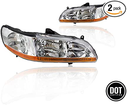 Replacement Headlight Assembly Ghdac98 A2 With Chrome Housing Amber Reflector For Honda Accord 1998 2002 Replace Oe 33151 S84 A01 33151 S84 A02