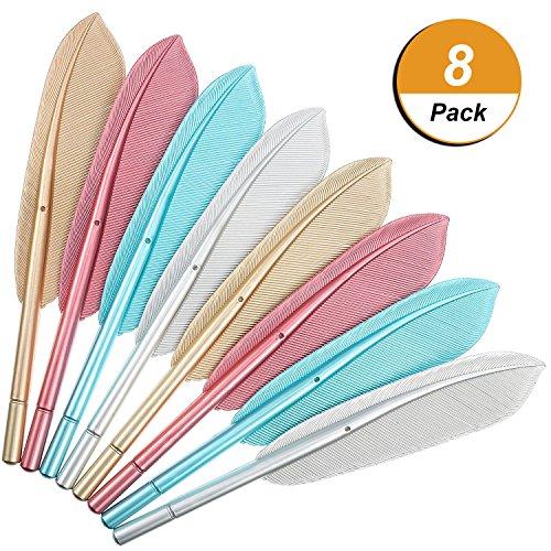 Frienda 8 Pieces Feather Pens Rollerball Pen Artificial Wing Feather Ballpoint Ink Pens Gel Pens Creative Office Supplies