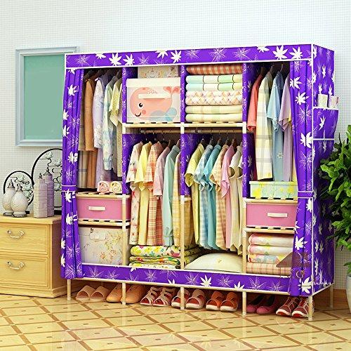 Cloth Wardrobe Double Wardrobe Solid Wood Wardrobe Oxford Cloth Free Standing Storage Organizer - Home Decoration Portable, Detachable, to Send 2 Drawers,6767