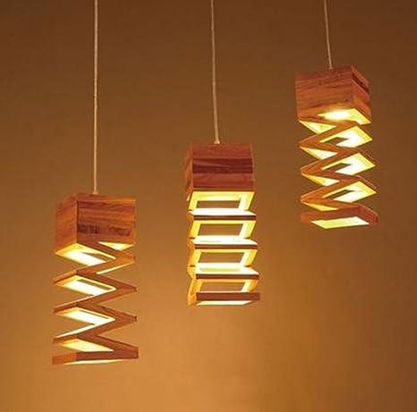 XIAOMIN Pendiente de la luz retro de madera decorativa ...