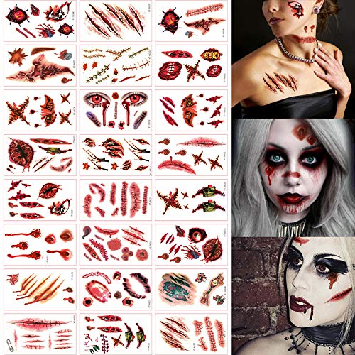 Bilbal - 24 Sheets Scar Tattoo Temporary Stickers for Cosplay, Over 60 Wound Tattoos, Halloween Costumes Makeup Bloody Zombie for Various Party Prop Decorations -