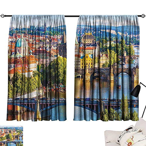 Denruny Thermal Insulated Blackout Curtains Wanderlust,Charles Bridge in Prague 54