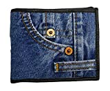 Bijoux De Ja Unisex Small Blue Denim Bifold Wallet Wristlet Purse