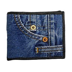 Bijoux De Ja Unisex Small Blue Denim Bifold Wallet Wristlet Purse