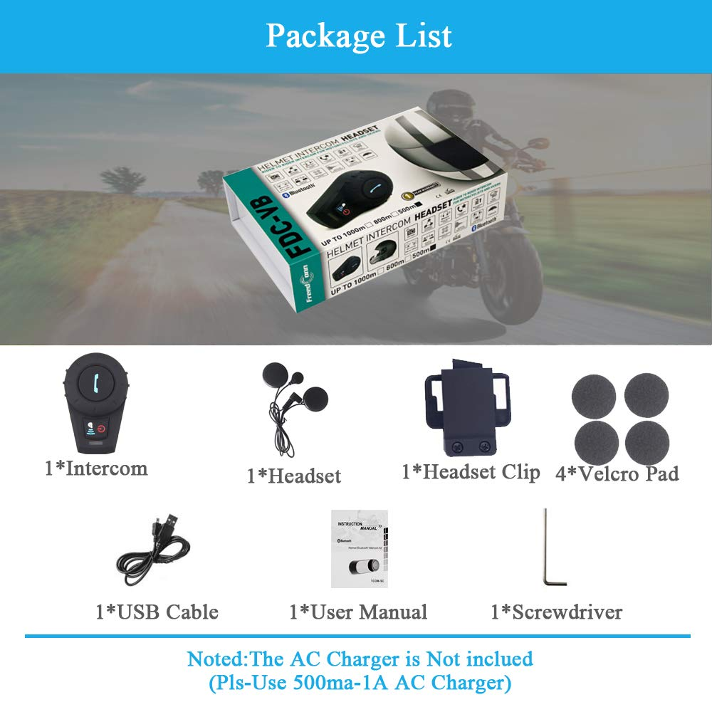 Manos Libres|Radio FM|Mp3|GPS|500M|Impermeable|1 Pieza Cable Suave Sistema de comunicaci/ón para Bluetooth Interfono,FreedConn FDC-VB Casco de la Motocicleta Bluetooth Intercomunicador
