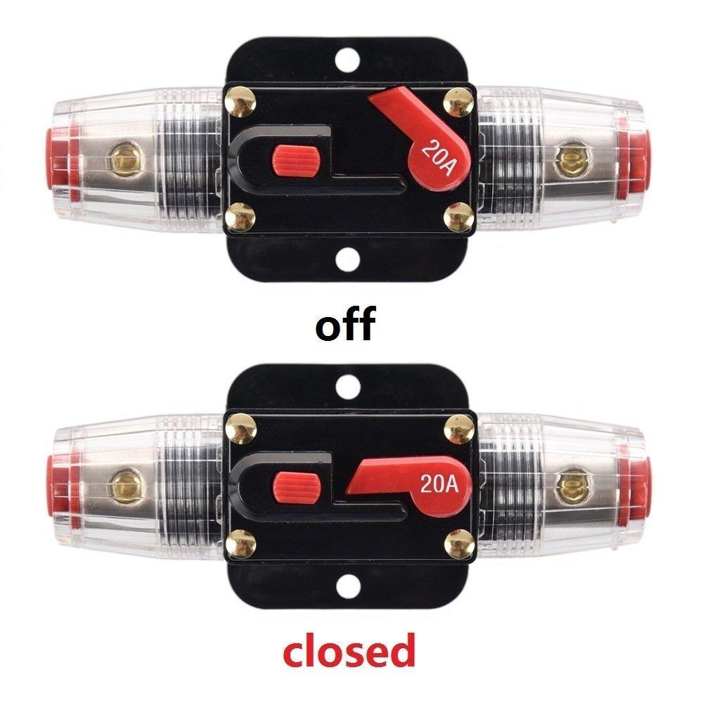 Rkurck inverter solare per audio automobile portafusibile interruttore di circuito 12/V-24/V DC 20A 30A 40A 50A 60A 80A 100A 150A protezione sistema blocco fusibile in linea