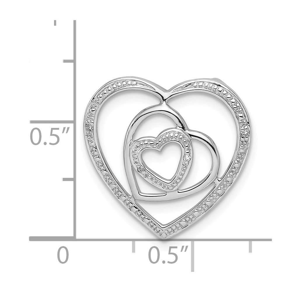 Sonia Jewels Sterling Silver Diamond Triple Heart Pendant 19mm x 19mm