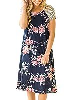 HOTAPEI Women's Floral Print Casual Short Sleeve A-line Loose T-shirt Dresses Knee Length
