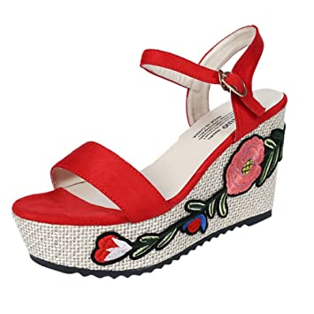698dc1eef4a4bc Fashion Embroidery Ankle Strap High Heel Wedges Slippers Side Sandals for  Women Flat Flower Clearance Summer