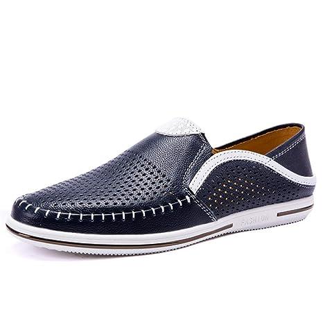 ZHRUI Slip de Cuero Genuino para Hombre en Mocasines Casual Respirable Ahueca hacia Fuera los Zapatos
