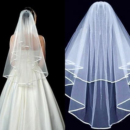UOOOM Fashion 2 Strati per Addio al Nubilato da Sposa Velo in Pizzo  Lunghezza Gomito Sposa aedd084981b6
