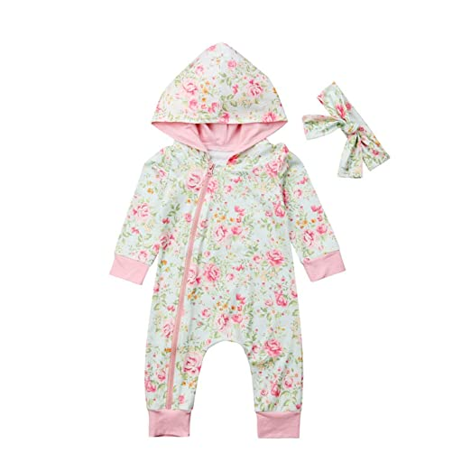 ac6a21b2768 Amazon.com  Newborn Infant Baby Girls Floral Hooded Zipper One Piece Romper  Long Sleeve Jumpsuit Clothes  Clothing