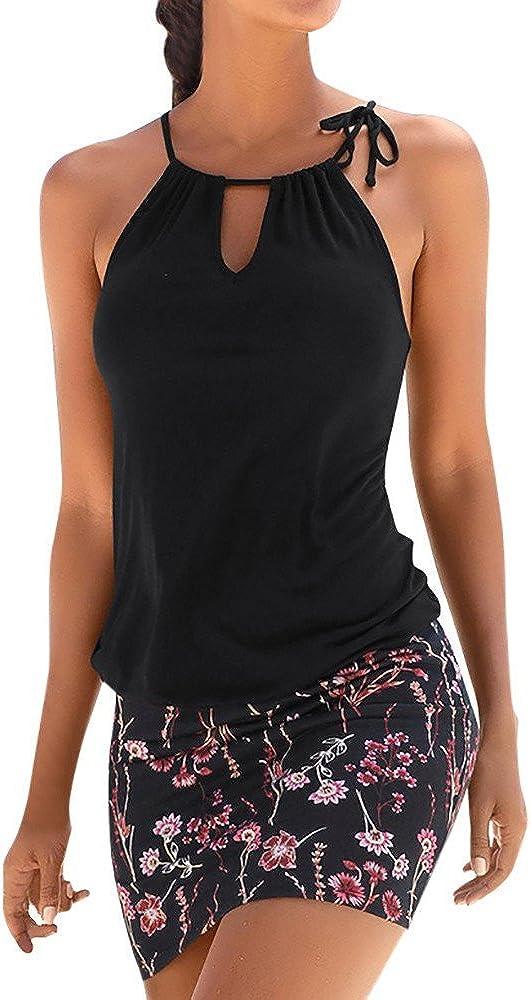 Logobeing Ropa de Mujer Vestidos Falda Chaleco Vestido Mini Playa Sin Mangas con Estampado Retro Camisetas Verano