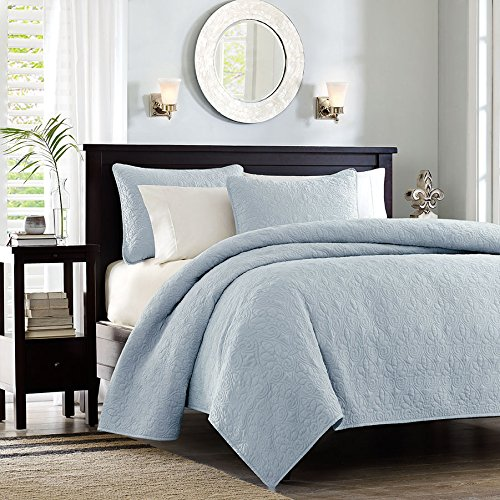 Madison Park Quebec 3 Piece Coverlet Set, Full/Queen, Blue
