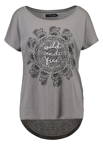 Even&ODD T-Shirt Camiseta de Mujer en Gris Ocsuro - Talla XS