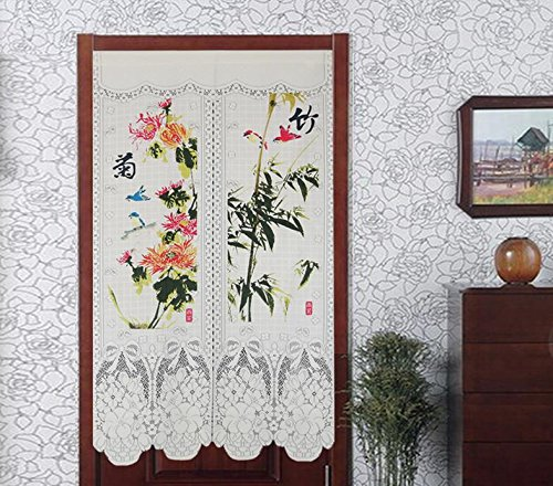 LifEast Elegant Lace Japanese Noren Peony and Orchid Printing Door Curtain (# 4)