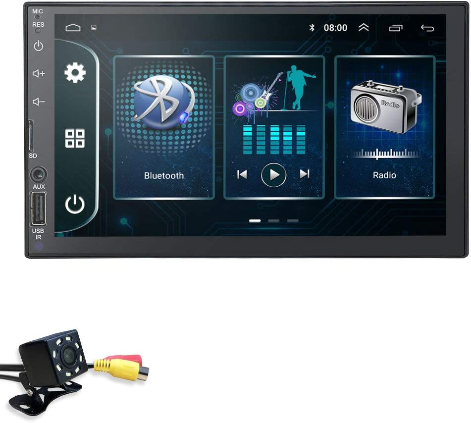 7 Inch Double Din Android 9.0 hizpo Car Navigation Supports Mirror-Link Bluetooth WiFi 4g TPMS Steering Wheel Control with Free Rear View Camera