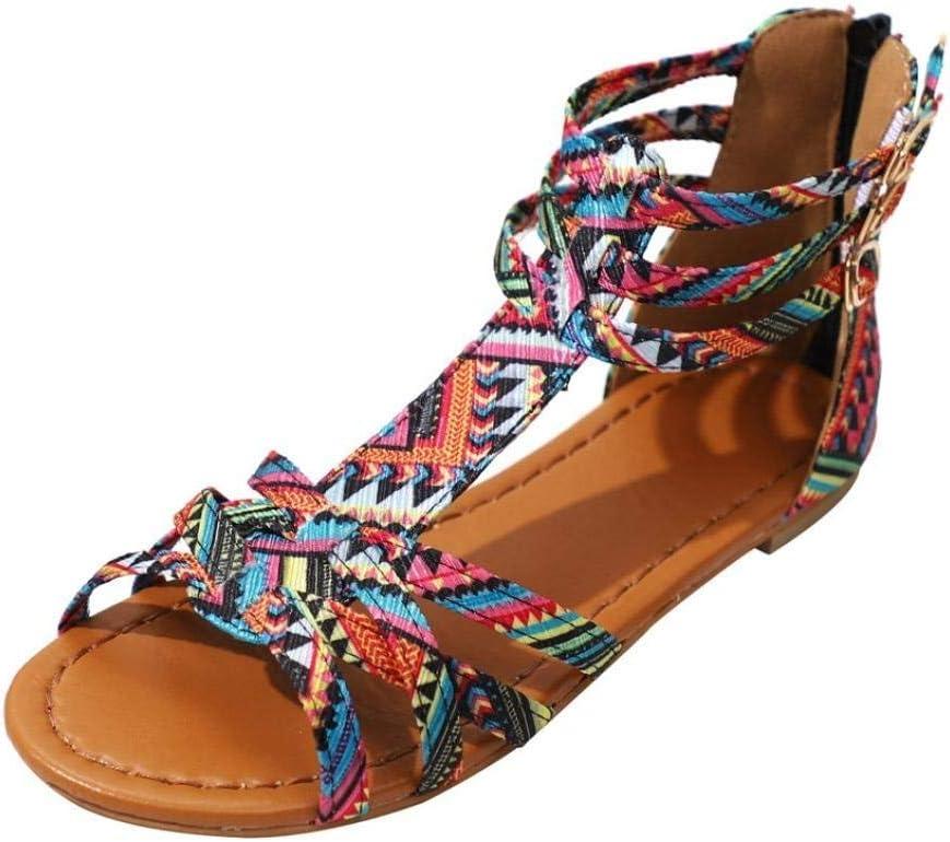 Qiusa Sandalias Mujer Damas Boho Beach Sandalias Planas de Verano Tama/ño 3-9 Color : P/úrpura, tama/ño : 2 UK C/ómoda T-Strappy Flatform Toepost Slingback Amortiguado Zapatos para Exteriores