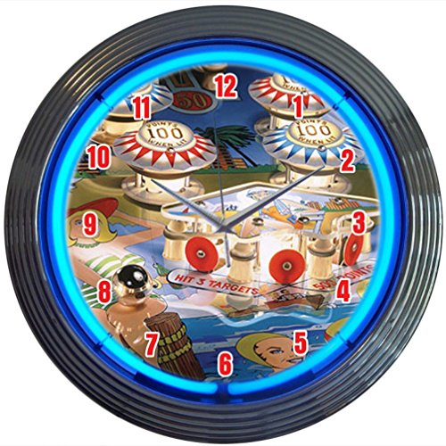 - Neonetics Bar and Game Room Pinball Neon Wall Clock, 15-Inch