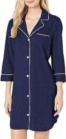 Camisa de noche para mujer, pijama 3/4 manga larga, vestido interior ultra suave: Amazon.es: Ropa y accesorios