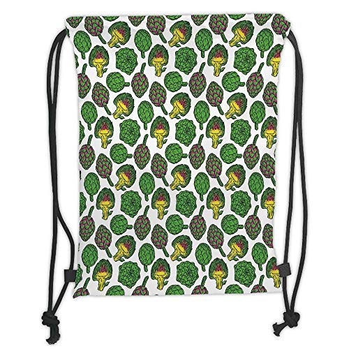 New Fashion Gym Drawstring Backpacks Bags,Artichoke,Vivid Colored Artichokes Cooking Food Eating Groceries Vegan Options Decorative,Yellow and Fern Green Soft Satin,Adjustable Str]()