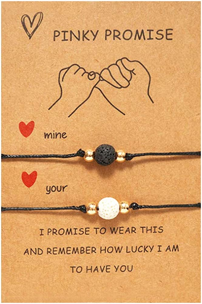DESIMTION Pinky Promise Bracelets Long Distance Matching Bracelets for Couple Best Friend Women Teen Girls