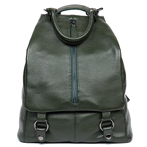 NAWO Women Leather Backpack Casual School Bags Purse Daily Shoulder Bag Dark Green