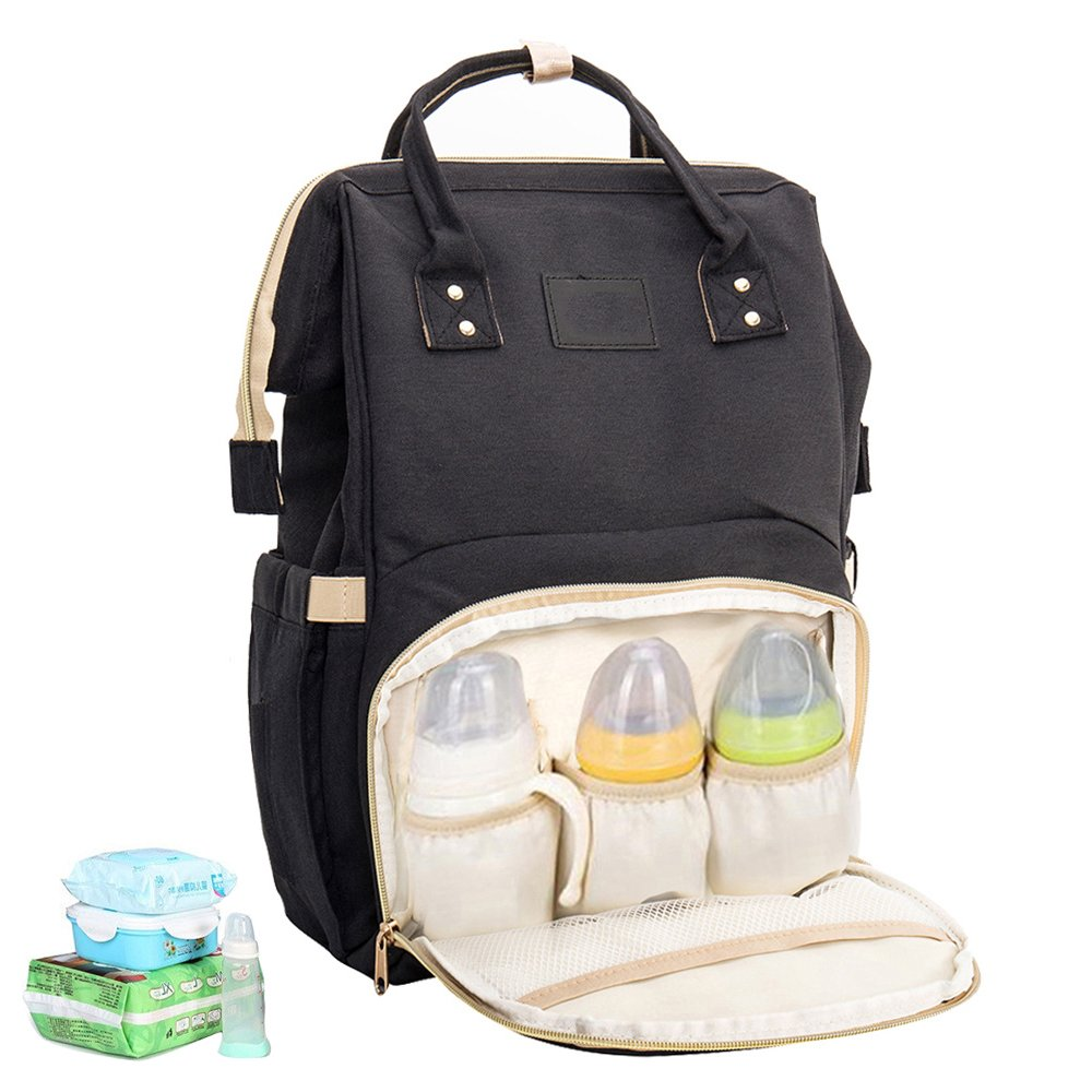 Black Fashion and Durable Multi-Function Hafmall Diaper Bag Backpack Waterproof Large Capacity Insulation Travel Back Pack Nappy Bags Organizer