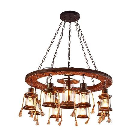 LHFJ Madera Industrial iluminación de la lámpara, 10 Luces ...