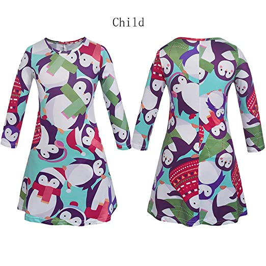 60c563cedde9 Amazon.com: Mommy Me Christmas Cute Family Matching Clothes Mother Daughter  Long Sleeve Dress: Clothing