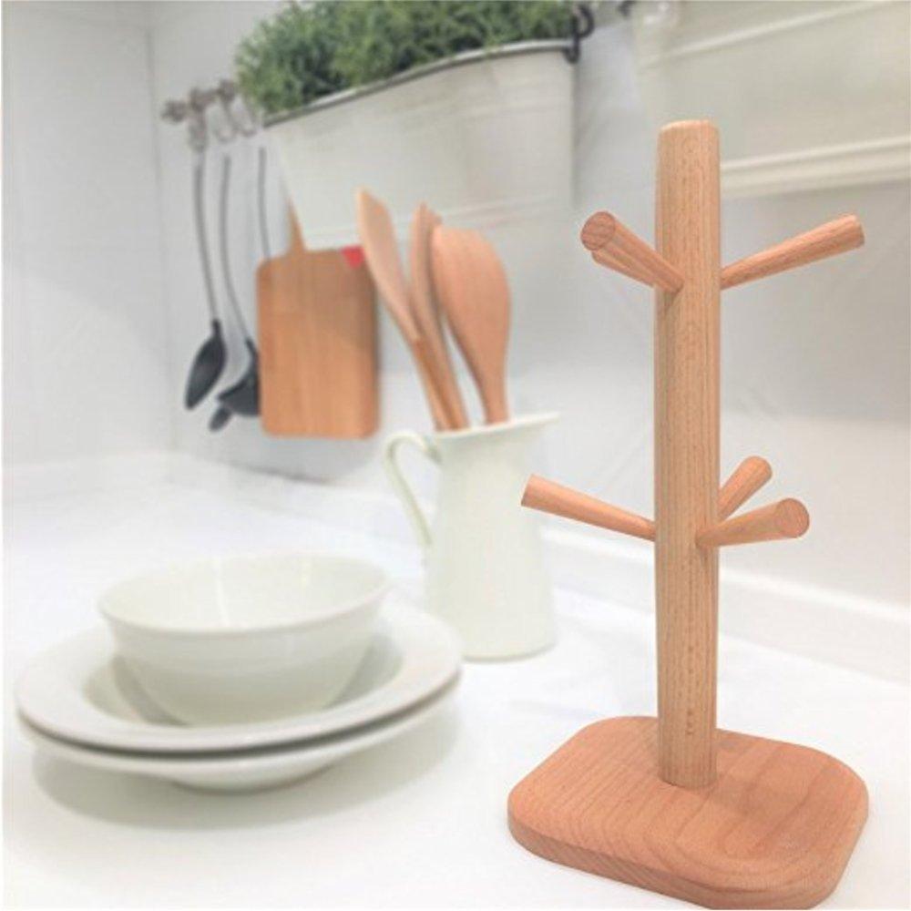 Wood Mug Tree Rack Stand,Cup Holder with 6 Storage hooks by La Croqueta (Image #2)