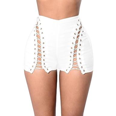 5bcaa8515e80be LAEMILIA Shorts Mini Femmes Eté Bandage Sexy Club Zippé Vintage Denim  Taille Haute Stretch Retro Trou Pantalons Courtes