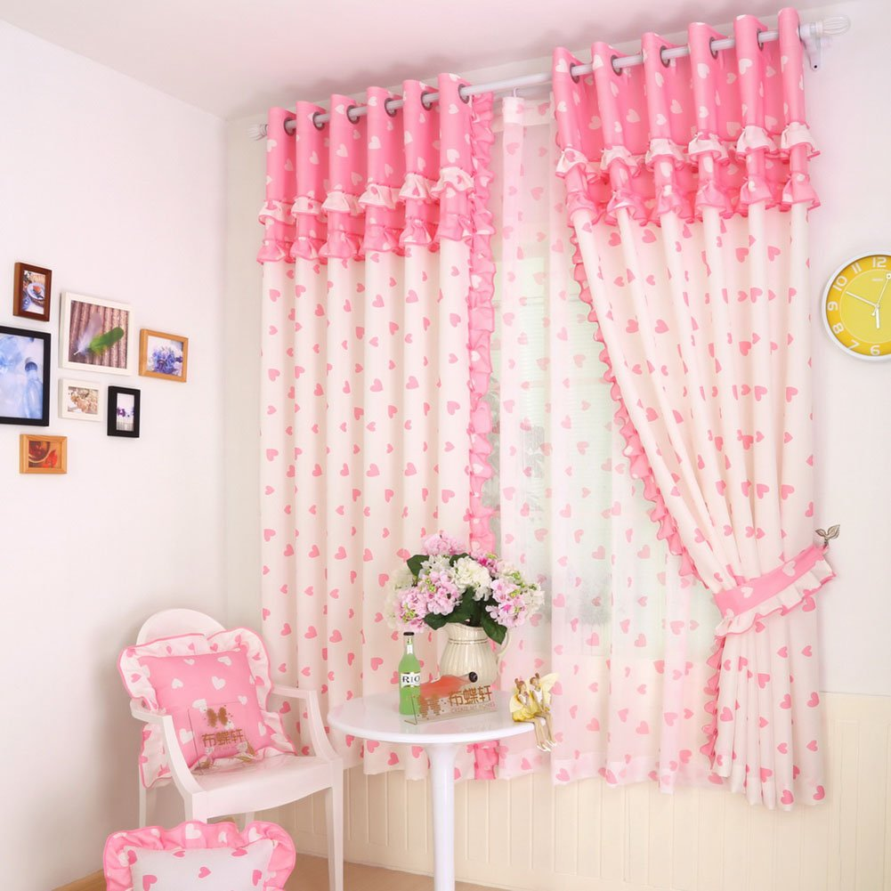 Pink Lace Girl Bedroom Window Curtains,Kid Love Drapes Panel for Children Room,Pricess Curtains Set Grommet 2 PCS,52 x 63 inch