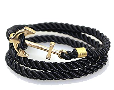ee1a6f768 Boston Emporium Nautical Nylon Rope Wrap Around Bracelet with Gold Colored  Anchor Charm for Men or